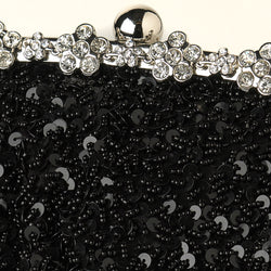 Black Sequin Evening Bag with Silver Frame & Shoulder Strap