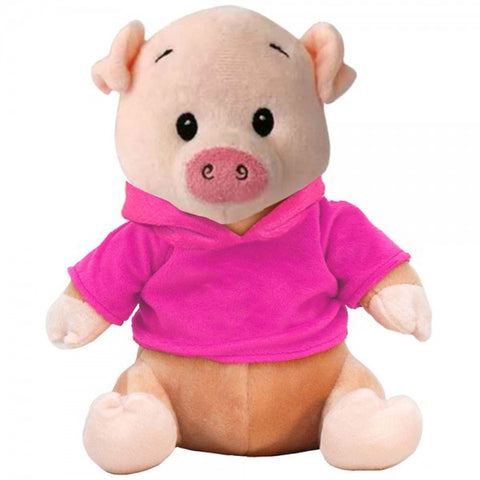 "10"" Plush Pig With Customizable Hoodie"