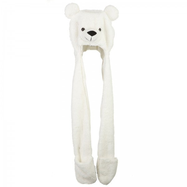 "37"" Plush Polar Bear Hat With Mittens"