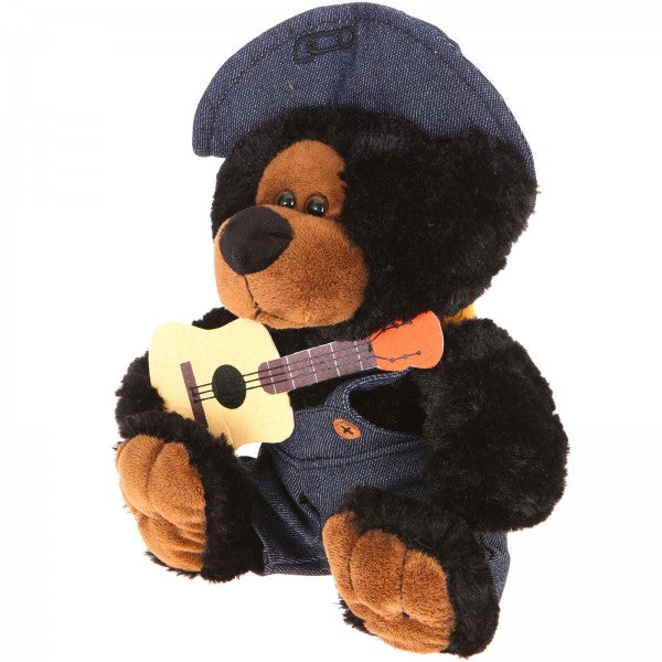 "10"" Plush Hillbilly Guitar Black Bear"