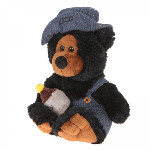 "10"" Plush Hillbilly Jar Black Bear"