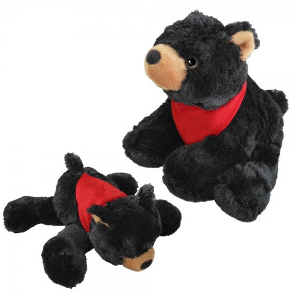 "10"" Plush Lying Black Bear With Customizable Bandana"