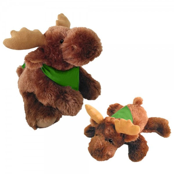 "10"" Plush Lying Moose With Customizable Bandana"