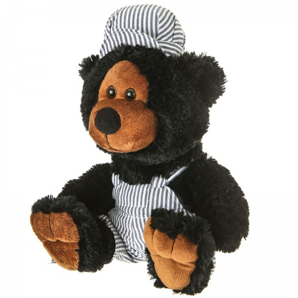 "10"" Plush Train Conductor Black Bear"