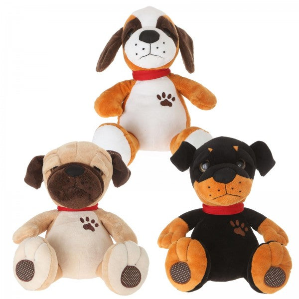 "11"" 2 Assorted Plush Big Eyes Dog"