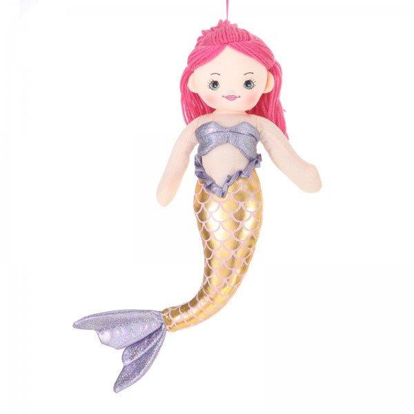 "16"" Plush Pink-Haired Mermaid Doll"