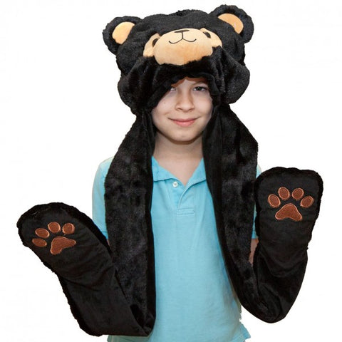 "37"" Black Bear Hat With Mittens"