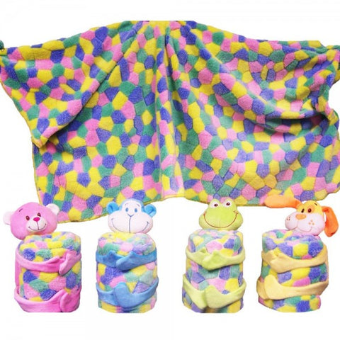 "4"" Assorted Plush Animals With Blankets"