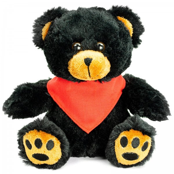 "7"" Plush Black Bear With Customizable Bandana"