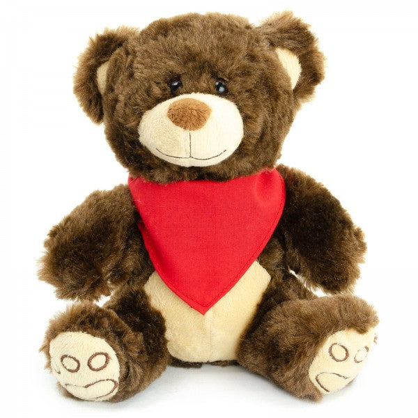 "7"" Plush Brown Bear With Customizable Bandana"
