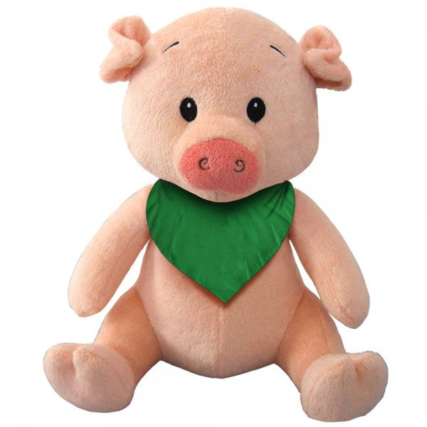 "7"" Plush Pig With Customizable Bandana"