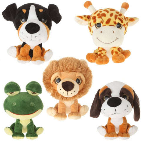 "8"" Assorted Plush Big Eyes Frog Dog Lion Giraffe"