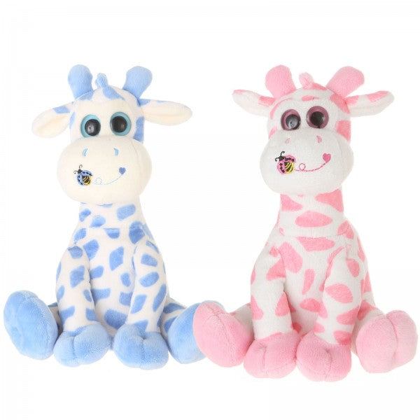 "9"" 2 Assorted Plush Giraffes With Rattles"