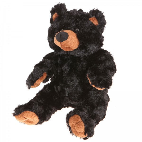 "9"" Plush Long Fur Black Bear"