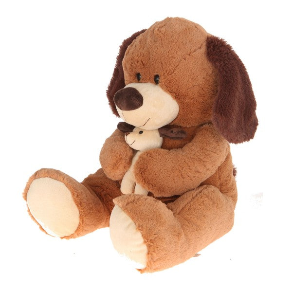"16"" Plush Dog With Baby"