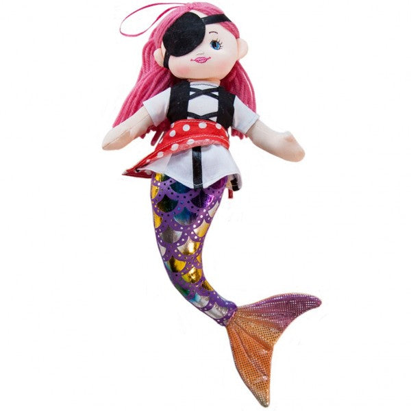"12"" Plush Eyepatch Mermaid Pirate Doll"