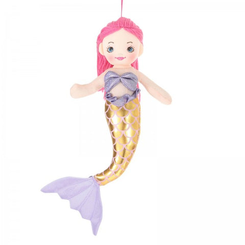 "12"" Plush Pink-Haired Mermaid Doll"