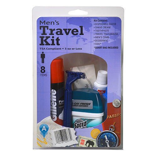 MEN'S TRAVEL KIT - Tooth Brush, Disposable Razor, Shave Cream, Tooth Paste, Men's Comb, Deodorant, Soap