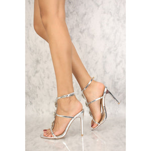 b2f8731f30ea5 Sexy Silver T-Strap Floral Embellished Single Sole High Heels