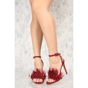 24fa770dee Sexy Wine Open Toe Ankle Strap Single Sole High Heels