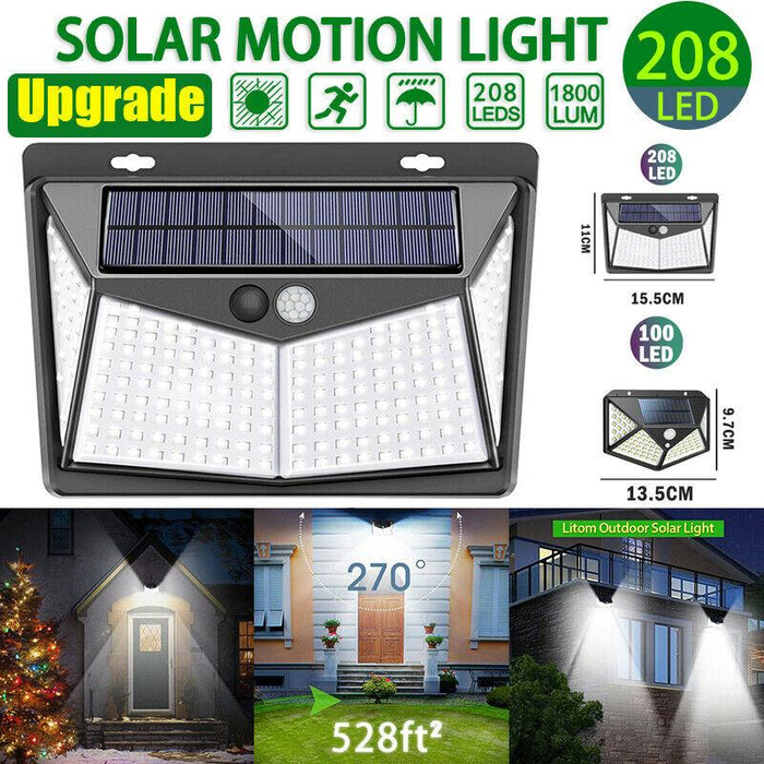 BFCM 3 PACK - SolarMax - 208 LED Solar Powered PIR Motion Sensor Wall Light Outdoor Garden Path Lamp