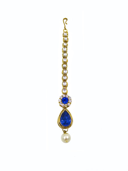 GOLD FINISH KUNDAN MAANG TIKKA WITH BLUE STONE