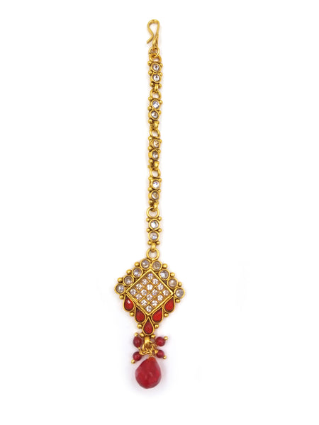 GOLD FINISH KUNDAN MAANG TIKKA WITH PINK STONE