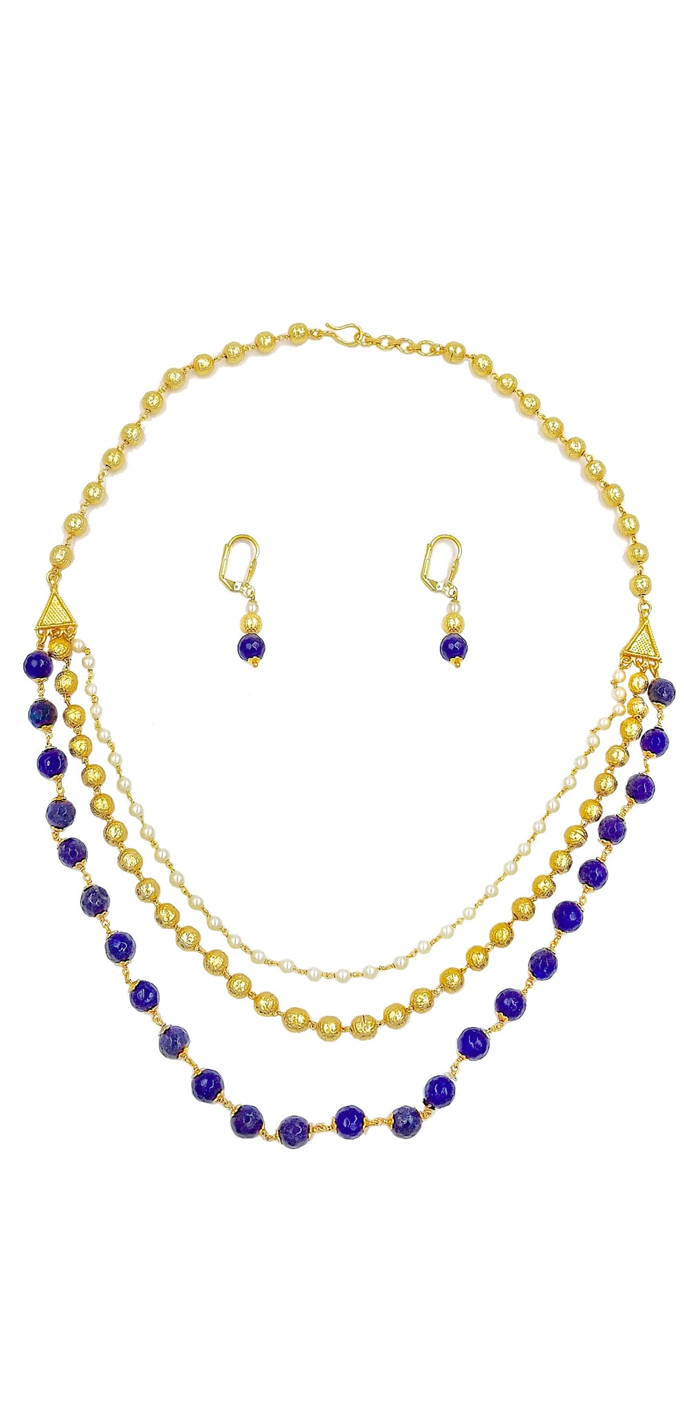 MICRON GOLD PLATED 3 LINE NECKLACE SET WITH SEMI-PRECIOUS BLUE STONES