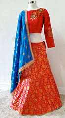 Two-toned pink and red floral brocade lehenga