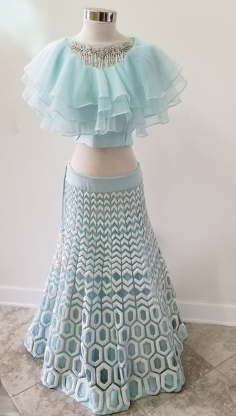 Powder Blue lehenga with frilled blouse