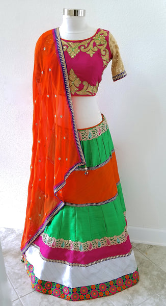 Multi-colored Silk lehenga