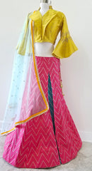 Frilled Yellow blouse with Pink lehenga