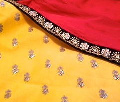 Yellow Soft Silk Anarkali with Red Georgette dupatta wrap