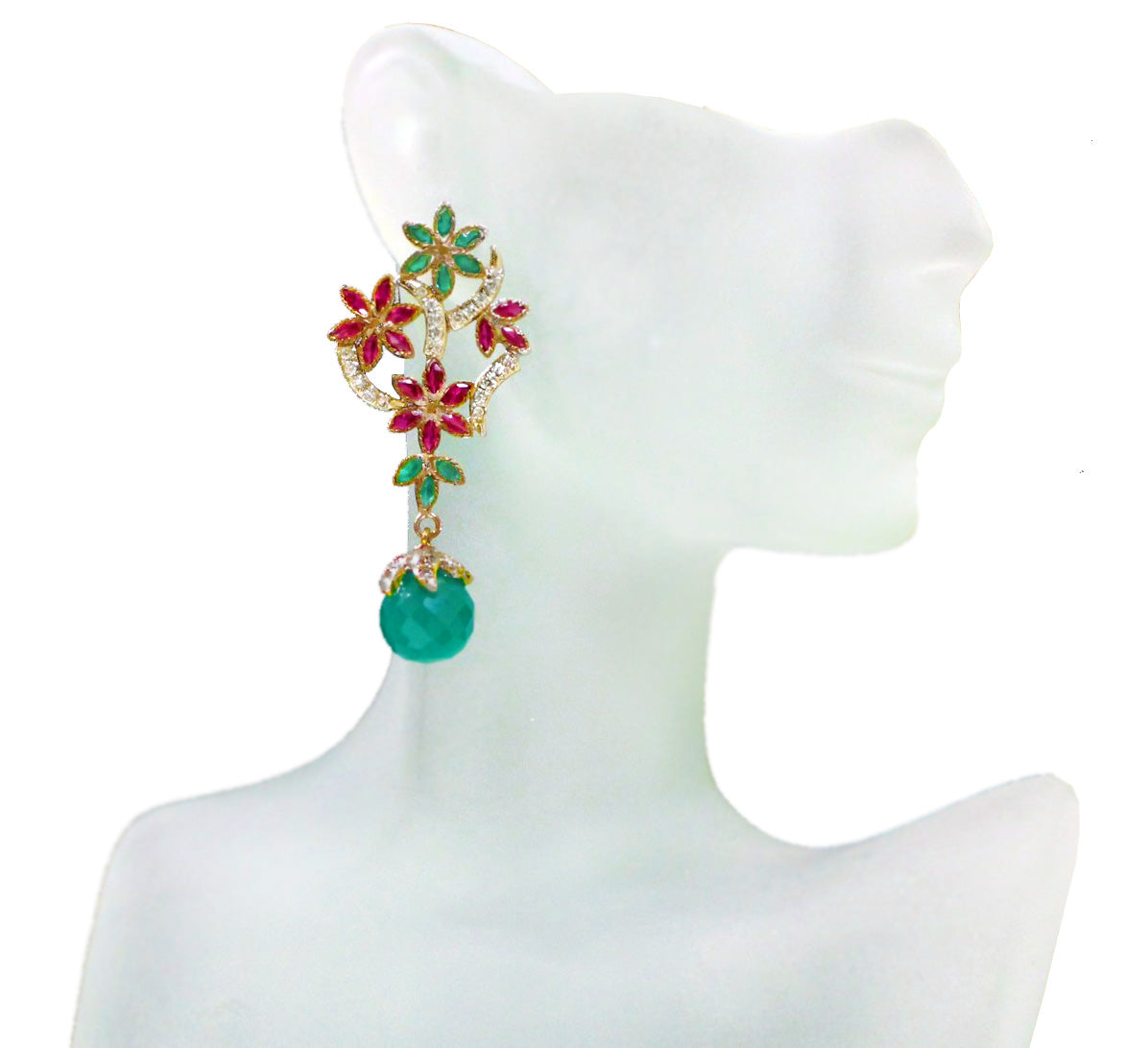Green and Red Stone Flower Zircon Earrings