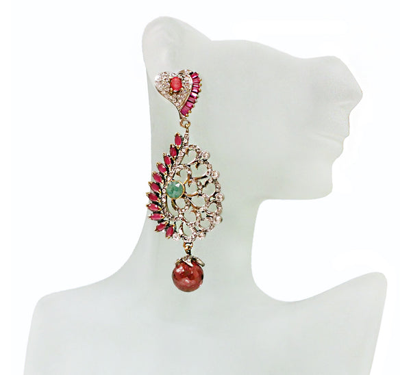 Antique Rhodium Finish with Red Stone and Zircon Earrings