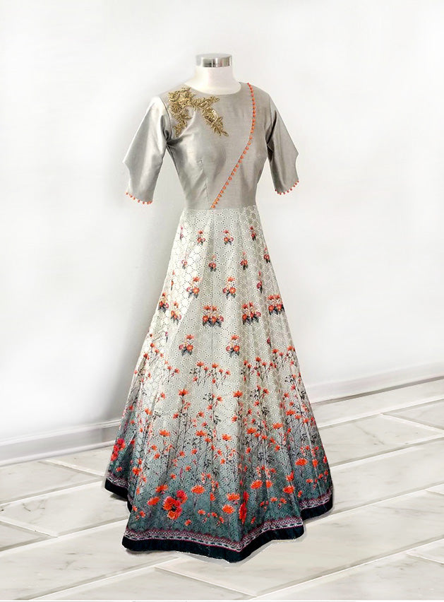 Grey Floral Anarkali Gown