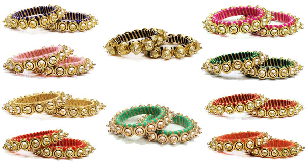 Silk Thread Bangles with Faux Pearls