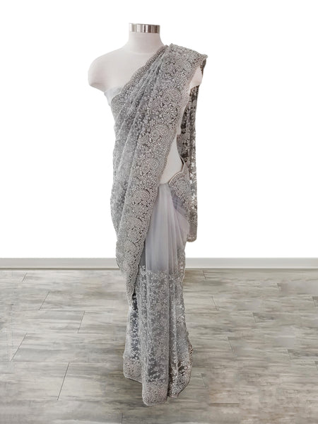 Light Grey Soft Net Saree with Resham work and crystals