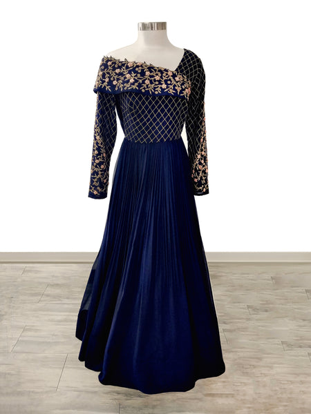 Navy Blue Georgette Off-shoulder Gown