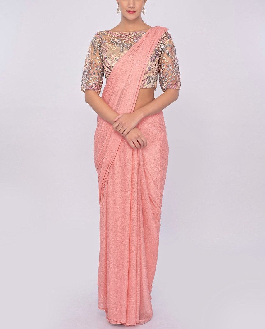 Peach shimmer lycra saree with beige blouse in resham embroidery
