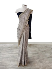 Marble shimmer Saree Navy blue Velvet pallu embellished with cut dana embroidered butti