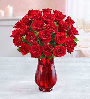 Two Dozen Red Roses with Red Vase (Free Delivery) - Carved Nature