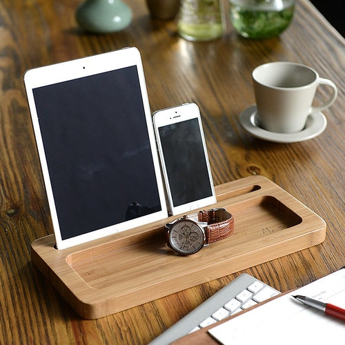 bamboo organizer for i pad iPhone and apple watch by carved nature