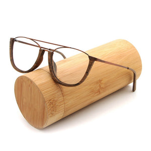Half-rim Square Wooden Glasses Frame