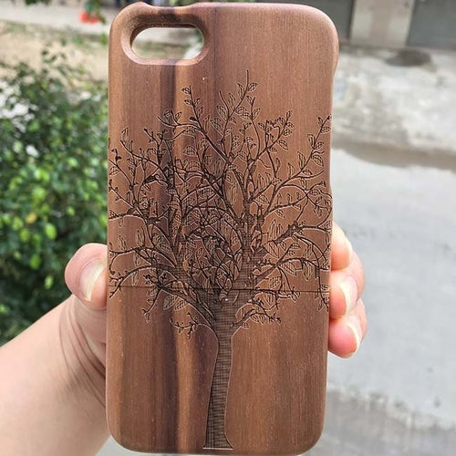 Tree solid wooden I phone case by carved nature