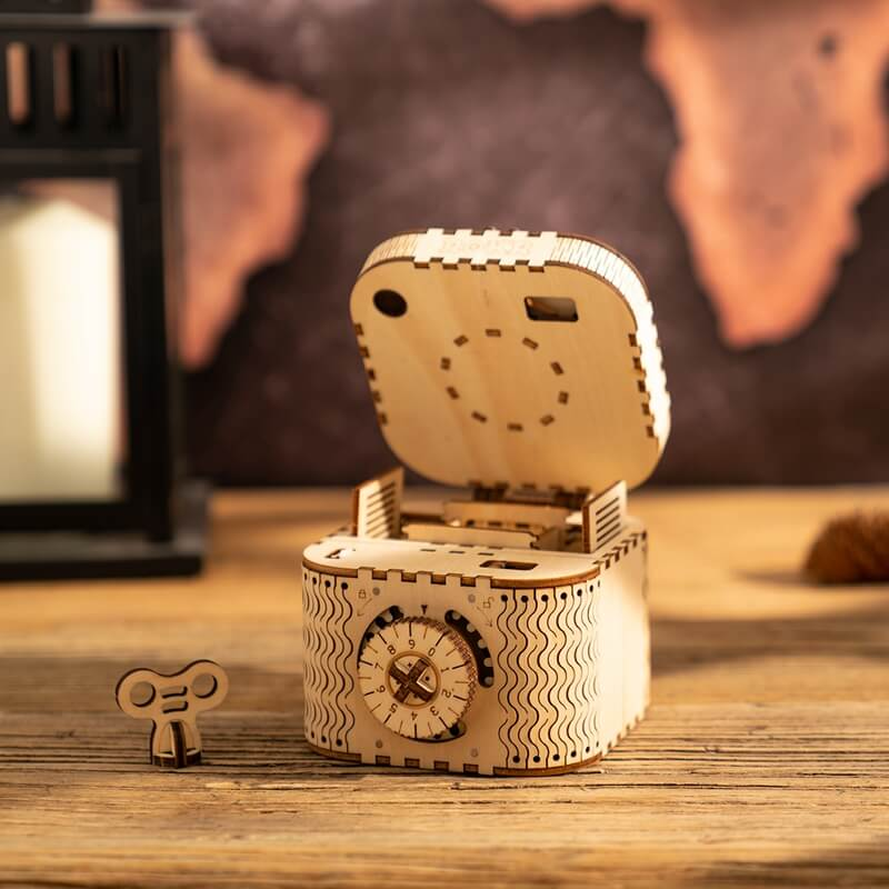DIY Wooden Treasure Box Building Kit with key