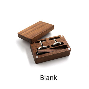Black walnut Classic Business Square Black Brush Mens Cufflinks Tie Clips Set For Men  Necktie Pin Tie Bars Clip Clasp