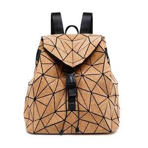 W638 KANDRA Diamond Geometric Cork Backpack Deformation Student School Bags For Teenage Girl Totes Travel Bags Dropshipping