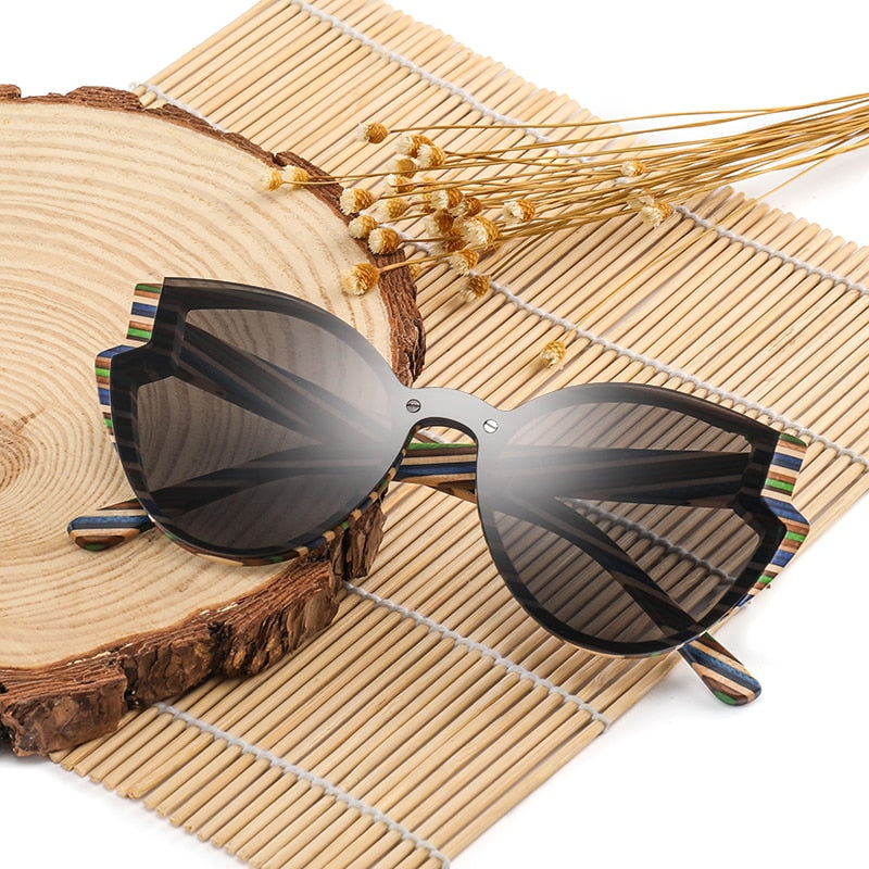 Fashion Butterfly Wood Bamboo Sunglasses Polarized for Women Mens New Brand Designer Wooden Sun Glasses UV400 free Shipping