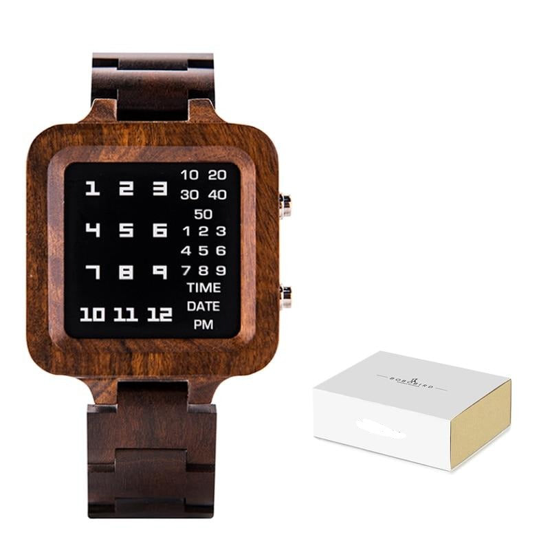 BOBO BIRD Digital Watch Men Luxury Brand Designe Night Vision Bamboo Watch Mini LED Watches Unique Time Display Gifts Dropship